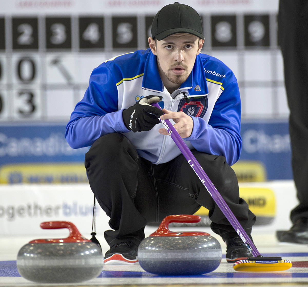 Team BC's skip Tyler Tardi surveys the house, and directs a shot by one of his squad during the gold medal finals today (Sunday) at the New Holland Canadian Junior Curling Championships. (Michael Burns/Curling Canada)